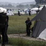 Police operation to evacuate a makeshift camp for refugees and migrants near the village of Idomeni